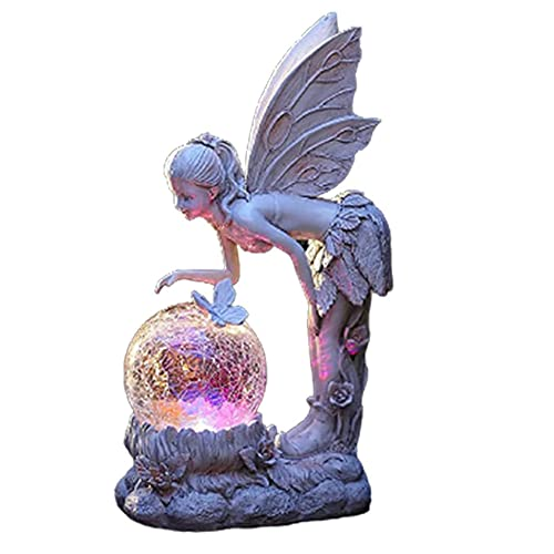 Cakunmik Blumenfee Solar-Feenfigur mit rissiger Glaskugel LED-Licht, Farbwechsel, Gartendeko, Engel-Lampe für den Außenbereich, Rasen, Hof-Dekoration 1PCS,A