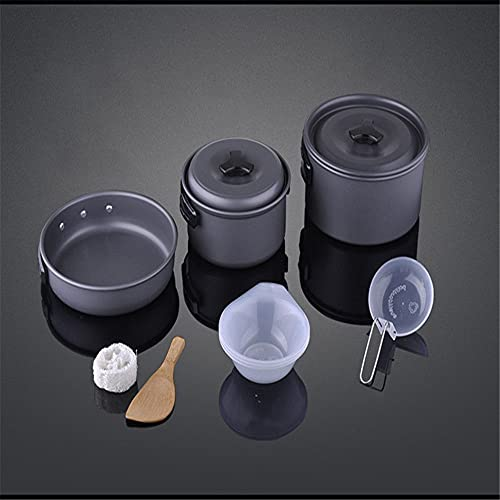 ysgbaba Outdoor Barbecue Geschirr Tragbare Multi-Person Camping Pot Set 2-3 Person Outdoor Pot Set Picknick Topf Set (Color : Gray)