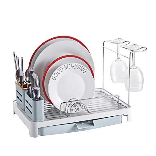 Piatto stendino, piatto scolapiatti in alluminio con beccuccio girevole portaposate e porta bicchieri di vino cucina di casa vassoio posate 42 * 36.5 * 29.6 cm
