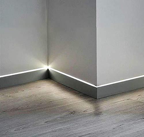 Perfil de aluminio para rodapiés de madera y cerámica Light 80 – 4 barras de 120 cm con juntas rectas y DIMA de montaje