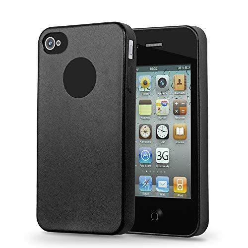 Cadorabo Custodia per Apple iPhone 4 / iPhone 4S in NERO METALLICO - Morbida Cover Protettiva Sottile di Silicone TPU con Bordo Protezione - Ultra Slim Case Antiurto Gel Back Bumper Guscio