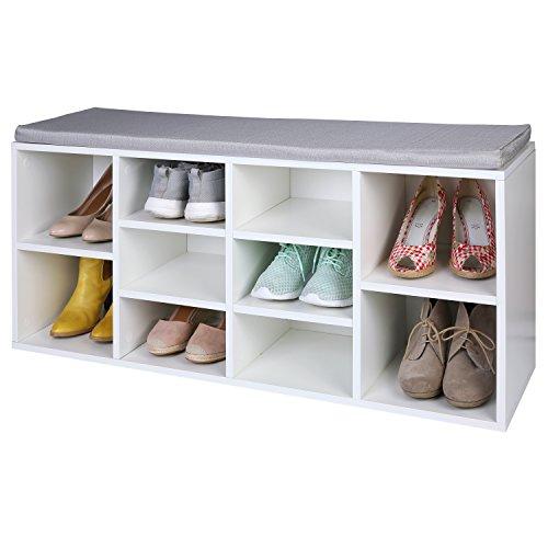 TRESKO Armario Zapatero para 10 Pares de Zapatos con Asiento, estantería con cojín Lavable, Estante para Zapatos, Banco para Zapatos con cojín, aparador con Asiento, Hecho de Madera, Blanco