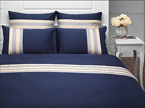 Salomé Prestige Martine - Juego de funda nórdica y 2 fundas de almohada (65 x 65 cm, satén de algodón, 120 hilos/cm2-240 x 260 cm), color azul marino y crudo
