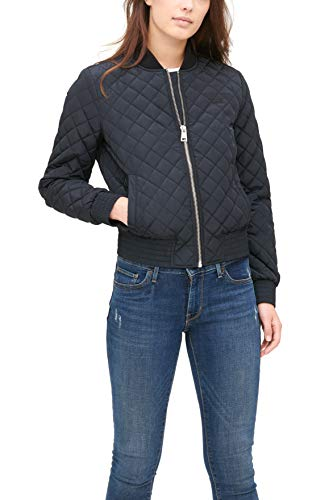 Womens Diamond Quilted Black Bomber Jacket