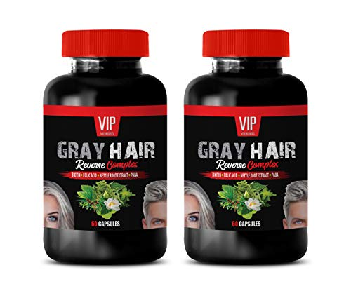 Anti Gray Hair Supplements The Best - Gray Hair Reverse Complex - Natural Solution - Powerful Results - tyrosine and b Vitamins - 2 Bottles (120 Capsules)