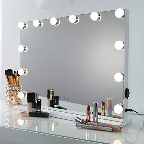 DAYU Hollywood Make-up Schminkspiegel mit 12 LED Licht Spiegel Beleuchtet Kosmetikspiegel Spiegel mit USB für Wohnzimmer, Schlafzimmer, Kosmetikstudio