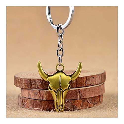 FKJSP Ganado Llavero cráneo Hecho a Mano del Oro del Llavero Cabeza de Buey de Accesorios Vaca joyería del Encanto de Coches (Color : Gold)