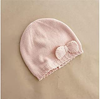 Baby Decoration Hat Bow Solid Color Knitting Hat Sleeve Cap Keep Warm Protect Ear Cap for Girls Cute Cap (Color : Pink, Size : S)