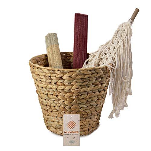 MadeTerra - Cestino per rifiuti in vimini, tessuto a mano, per bagno, camera da letto, cucina,...