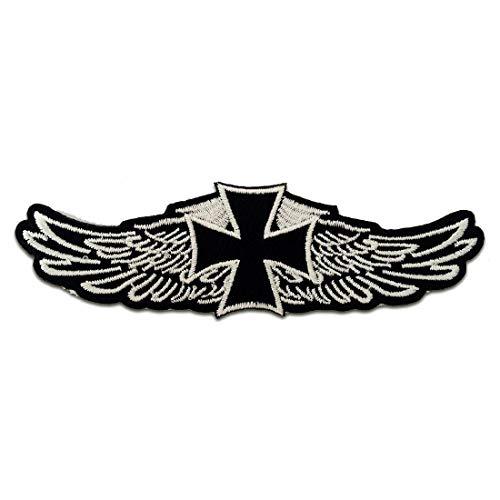 Chopper Kreuz Biker - Aufnäher, Bügelbild, Aufbügler, Applikationen, Patches, Flicken, zum aufbügeln, Größe: 12,2 x 3,9 cm
