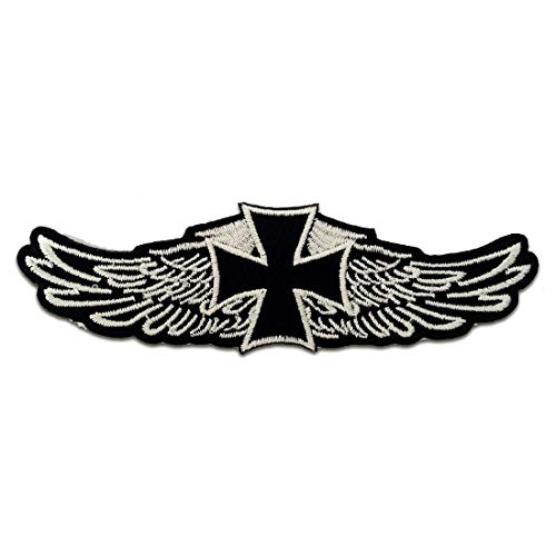 Aufnäher/Bügelbild - Chopper Kreuz Biker - schwarz - 12,2 x 3,9 cm - Patch Aufbügler Applikationen zum aufbügeln Applikation Patches Flicken