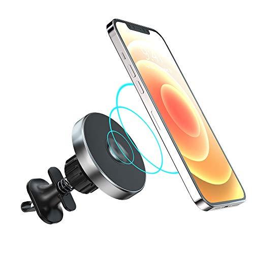 MeloAudio Cargador de Coche inalámbrico 15W, Carga rápida Qi, con Gancho y Soporte, Soporte de Toda la ventilación de Aire, Compatible con I-Phone 12/12 Pro / 12 Mini / 12 Pro MAX