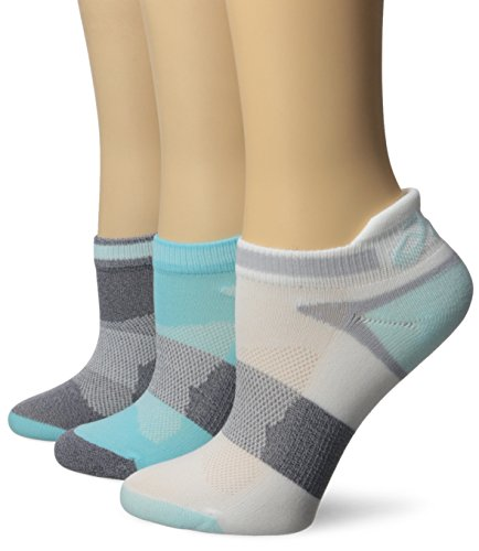 ASICS Women's Quick Lyte Cushion Single Tab Running Socks, Turquoise/Chrystal Blue, Medium,Pack of 3