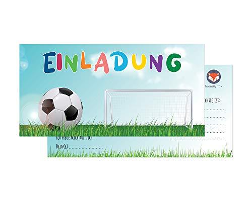 Friendly Fox Fussball Einladung - 12 Einladungskarten Fussball zum Kindergeburtstag Junge Mädchen - Karten mit Umschlag - Geburtstagseinladungen - Fussballtor - ideal für jeden Fußball-Fan