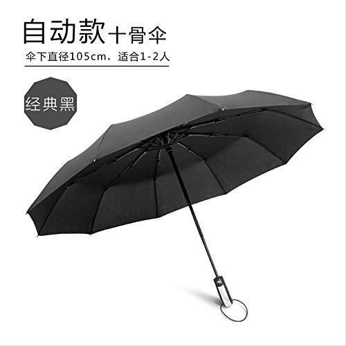 Vollautomatischer 10-Knochen-Regenschirm, Uv-beständiger Klappautomatikschirm, Windfester Sonnenschirm Business Schirm Ten Bones Classic Schwarz