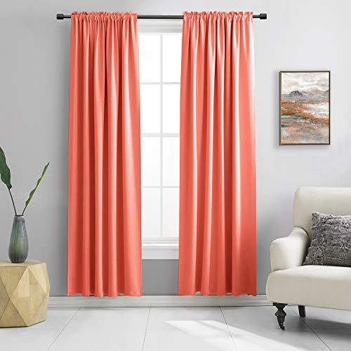 DONREN 96英寸长地板窗帘-客厅用珊瑚遮光窗帘-卧室用杆袋隔热窗帘(42 x 96英寸,一套2块)