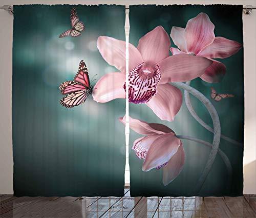ABAKUHAUS Floral Cortinas, Mariposa de la Flor de la orquídea, Sala de Estar Dormitorio Cortinas Ventana Set de Dos Paños, 280 x 225 cm, Rosa bebé y Jade Verde