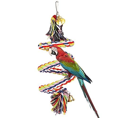 Vogelspielzeug, Kletterseil Baumwolle, Parrot Climbing Rope mit Glocke, Schaukel Spielzeug, Vogelkäfig Zubehör für Wellensittich Papageien Graupapageien Nymphensittiche Finken Sittiche Kakadus Aras