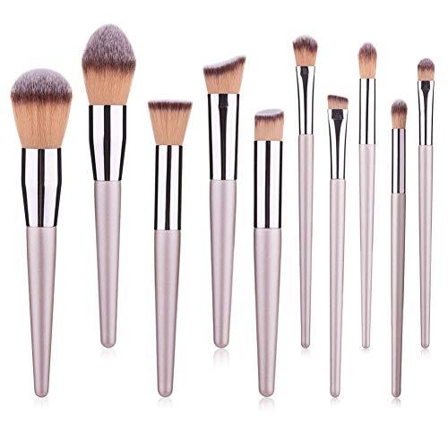 10 Pcs Maquillage Pinceau Visage Modification Outil De Beauté Laine Fibre Ombre À Paupières Fard À Joues Contour Brosse
