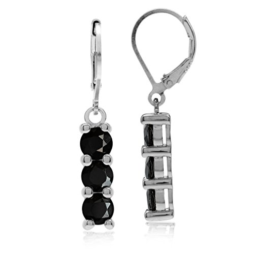 Silvershake 3.18ct. 3 Stone Natural Black Spinel White Gold Plated 925 Sterling Silver Leverback Dangle Earrings