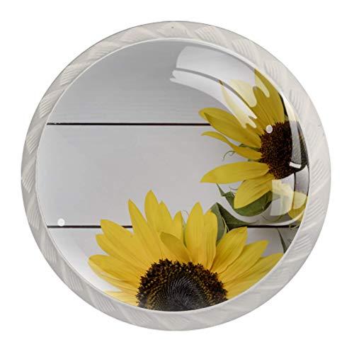 Juego de 4 pomos redondos de cristal para cajones de 30 mm, diseño de girasoles frescos sobre fondo de madera blanco