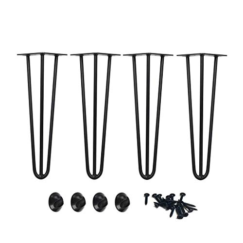 NBVCX Machinery Parts Black Hairpin Legs | 4 Legs with Screws and Protective Base for Coffee and Coffee Tables Chairs Stools (Size : 28in/71cm)