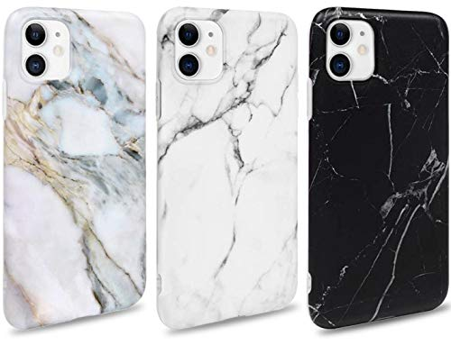 ToneSun Marmor Hülle kompatibel mit iPhone 11 Hülle Silikon Matt, [3 Stück] Weich TPU Handyhülle Ultra Dünn Case Flexibles Marble Schutzhülle - Weiß, Schwarz, Grau Lila