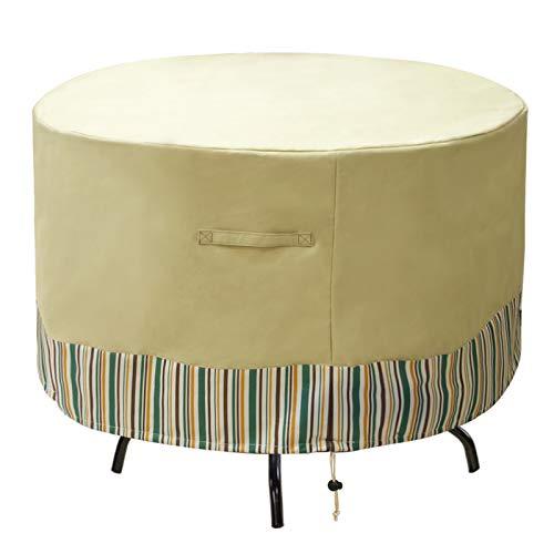 JLDUP MDSTOP Round Patio Furniture Covers Waterproof, Outdoor Table Chair Set Covers, Anti-Fading Patio Table Cover for Outdoor Furniture Set with Padded Handles (72' Dia x 27.5' H, Beige)
