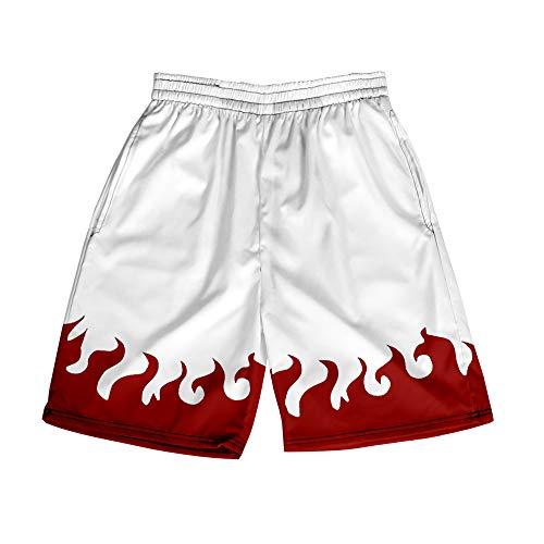 AMOMA Pantalones Cortos para Hombre Anime Naruto, Ligeros, Transpirables, Cintura elástica, Pantalones de Playa(XXS,Color11)