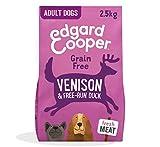 Edgard & Cooper pienso para Perros Adultos sin Cereales, Natural con Venado y Pato Frescos, 2.5kg. Comida Premium balanceada sin harinas de Carne ni Carnes sobreprocesadas cocinada a Baja Temperatura