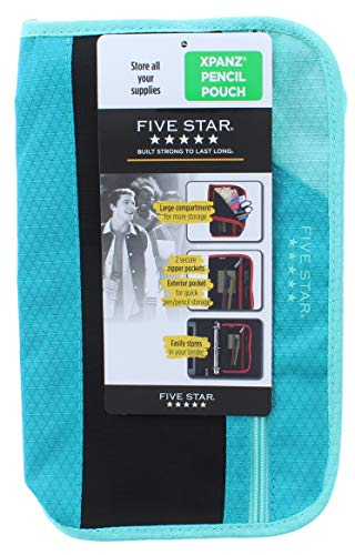Five Star Xpanz Zipper Carrying Case/Pouch for Pencil, Pen, Supplies - Puncture Resistant, Baby Blue/Teal