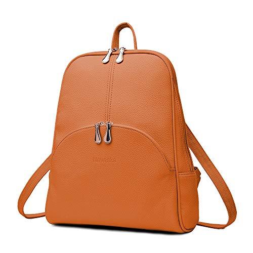 Nevenka Rucksack Damen Cityrucksack Daypack Tagesrucksack PU Leder Zweiwege Reißverschluss Elegantes Design (Braun)