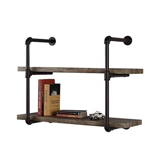 Étagères flottantes de Mur de Fer et de Bois en métal pour/étagère de Cube accrochant de Mur de LOFT pour la Chambre comme Support de Stockage d'étagère / 2 rangées (80 * 20 * 50cm)