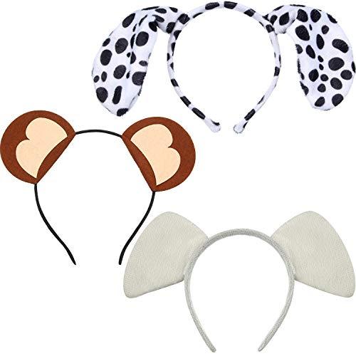 WILLBOND 16 Stücke Dschungel Safari Tier Stirnbänder Plüsch Tier Ohren Stirnbänder Zebra Giraffe Elefant Haarbänder für Halloween Kostüm Verkleidung Party Zoo Safari Party Bedarf