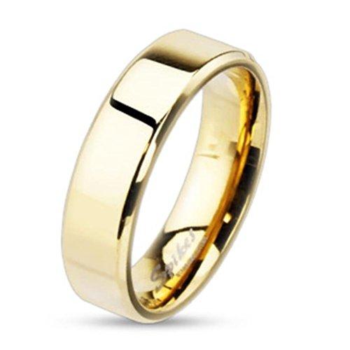 Paula & Fritz® Ring aus Edelstahl Chirurgenstahl 316Lring 8mm breit vergoldet