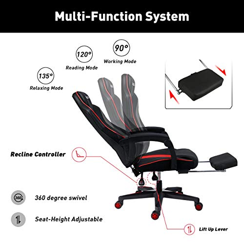 Hbada Gaming Chair Ergonomic PC Gaming Chair Racing Style Computer Chair with Padded Armrest, Headrest and Lumbar Support Recline Chair with Height Adjustable seat, Swivel Caster and Footrest, Red.