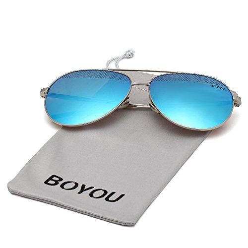 BOYOU Classic Aviator Spiegellinse Sonnenbrille mit UV400 Schutz
