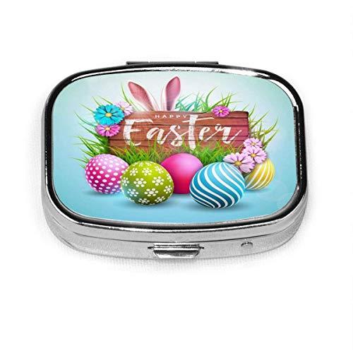 Caja organizadora de huevos de Pascua con patrón de jardín, 2 compartimentos para vitaminas, tabletas, contenedor de metal, portátil para necesidades diarias, bolso de viaje, bolsillo