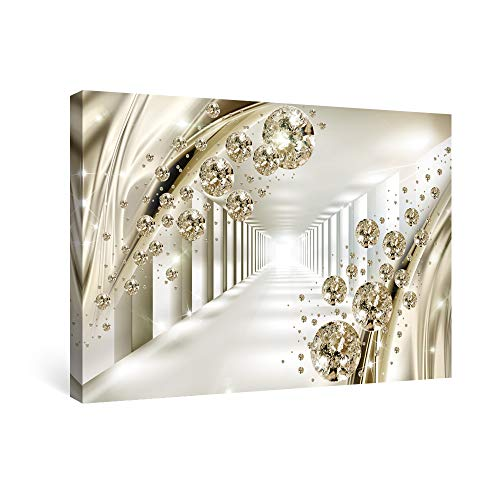 SUMGAR Canvas Wall Art Framed Print 3D Golden Ball Picture Modern Painting Artwork 40 x 60 cm (16 x 24 in) for Living Dining Room Bedroom Home Wall Decor, Stretched on Wooden Bar Ready to Hang