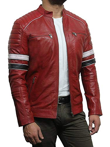 Black Leather Jacket Mens - Cafe Racer Real Lambskin Leather Distressed Motorcycle Jacket