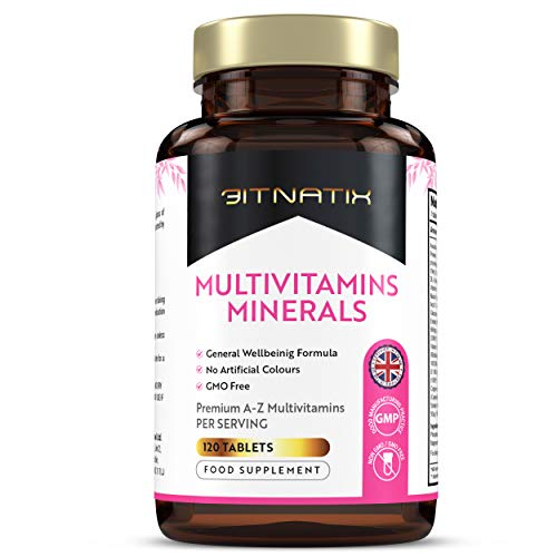 Multivitamins Minerals | A-Z Essential Vitamins & Minerals with Iron & Zinc | 120 Tablets | 4 Month Supply | for Vegetarians & Vegans | No Artificial Colours | GMP Approved | GMO Free - Made in UK