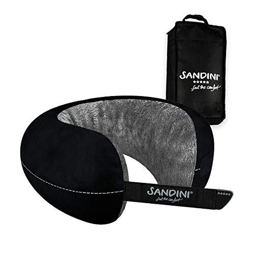 SANDINI TravelFix Regular Size – Plüsch – Premium Reisekissen Made in EU/Nackenkissen mit ergonomischer Stützfunktion – Gratis Transporttasche mit Befestigungs-Clip