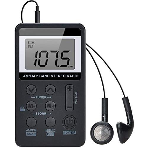 WFGZQ Radio de Bolsillo Am FM, sintonización Digital portátil Mini Reproductor de Radio estéreo Am/FM con batería Recargable y Auriculares para Caminar al Aire Libre
