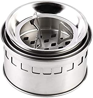 JesseBro76 Outdoor Portable Wood Burning Backpacking Emergency Survival BBQ Camping Stove Silver