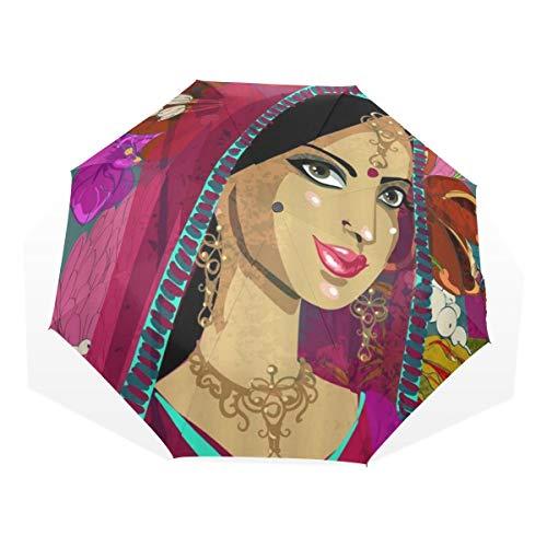 LASINSU Paraguas Resistente a la Intemperie,protección UV,Chica Negra Descendiente Africana Mujer Hermosa Nación Tradicional Brillante Tribu India Resumen