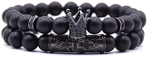 GIAOYAO Pulsera de Piedra Mujer, 7 Chakra Natural Frosted Stone Bangle Brazalete Elástico Yoga Energía Lucky Bracelet Joyas de Corona Negra para Damas Regalo de Pareja de Navidad