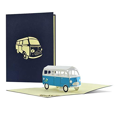 Glückwunschkarte mit Bus I Geburtstagskarte oder Reisegutschein I Verschenke einen Kurztrip, Städtetrip, Wochenendreise oder Camping Trip I 3D Pop Up Camper Van, H24