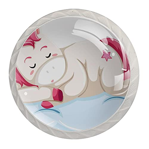 Juego de 4 pomos de cristal de unicornio para gabinete de armario, 4 unidades, redondos, para cajones, cajones, cajones, cajones, cajones