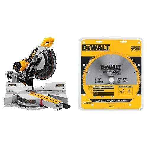 "DEWALT DWS779 12"" Sliding Compound Miter Saw with DEWALT DW3128 Series 20 12-Inch 80 Tooth ATB Thin Kerf Crosscutting Miter Saw Blade with 1-Inch Arbor"