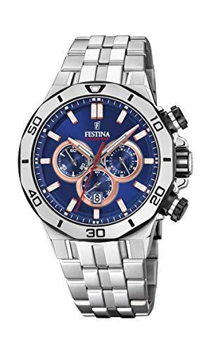 Festina Unisex Erwachsene Chronograph Quarz Uhr mit Edelstahl Armband F20448/1